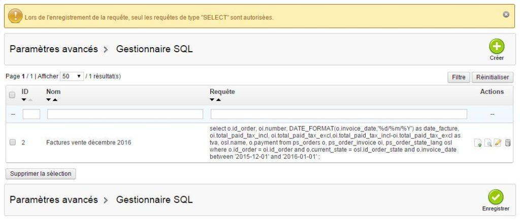 Gestionnaire SQL Prestashop