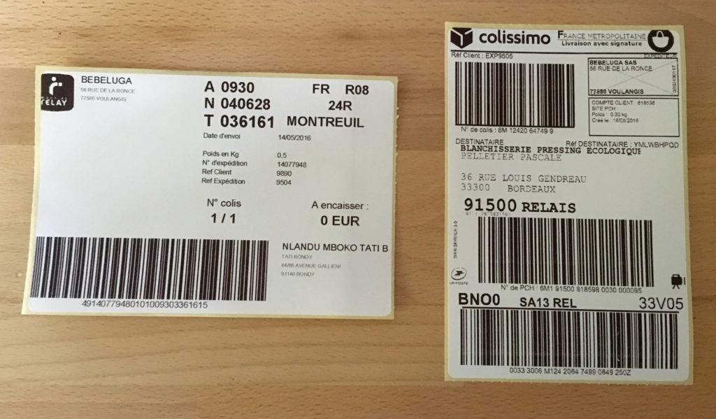 Exemple d'étiquettes générées avec l'imprimante à étiquette