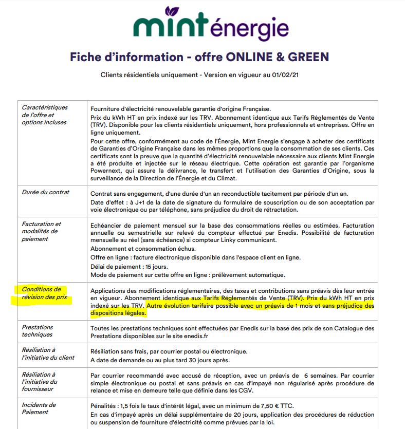 CGV Mint energie